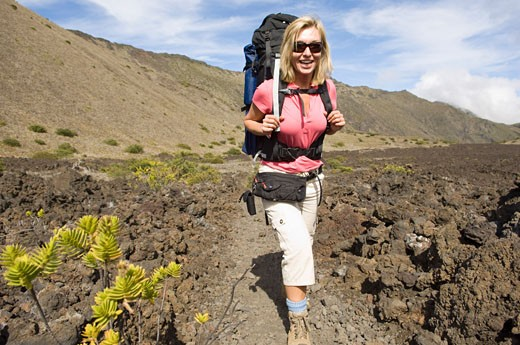 Woman Backpacking, Haleakala Crater, Maui, Hawaii, USA    : Stock Photo