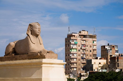 Stock Photo: 1828R-39363 Sphinx, Buildings in Background, Alexandria, Egypt