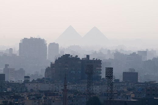 View of City and Giza Pyramids from Cairo Citadel, Cairo, Egypt    : Stock Photo