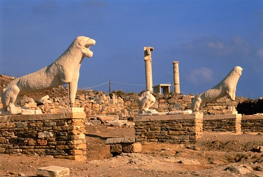 Terrace of the Lions Delos, Cyclades, Greece    : Stock Photo