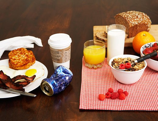 Healthy and Unhealthy Breakfast : Stock Photo