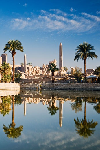 Water by Temple of Amun, Karnak, Luxor, Egypt    : Stock Photo