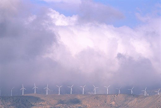 Stock Photo: 1828R-4024 Wind Turbines and Clouds California, USA