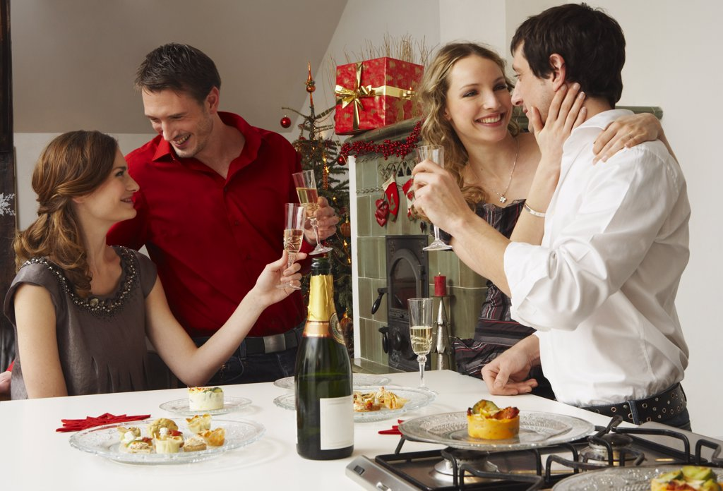 Stock Photo: 1828R-40319 Friends Celebrating Christmas