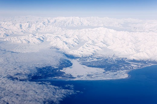 Stock Photo: 1828R-40414 Aerial View of Alaskan Coastline