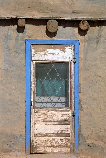 Stock Photo: 1828R-4073 Door of Pueblo Dwelling New Mexico, USA