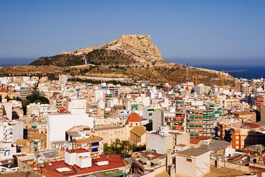 Stock Photo: 1828R-40753 Castillo de Santa Barbara and Cityscape, Alicante, Valencia, Spain