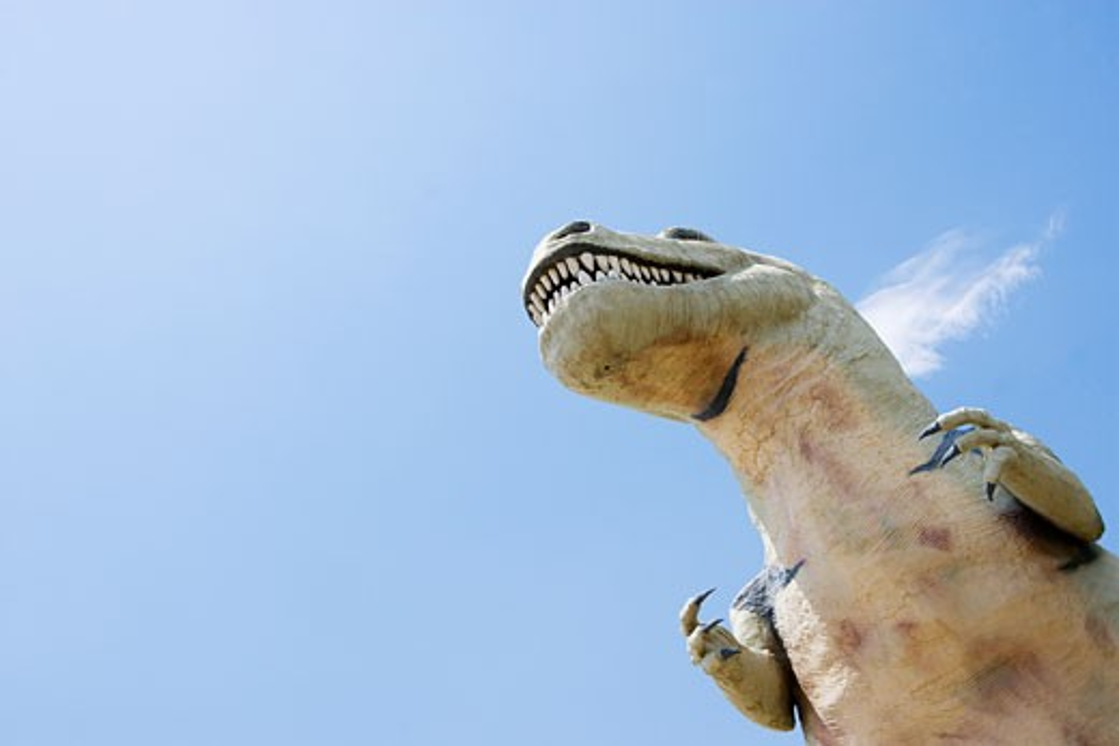 Stock Photo: 1828R-41580 Close-Up of Cabazon Dinosaur, Cabazon, California, USA