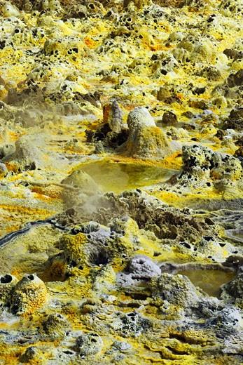 Volcanic Salt Formations, Dallol, Danakil Desert, Ethiopia, Africa    : Stock Photo