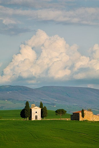 Stock Photo: 1828R-41965 Chapel of Vitaleta, Val d'Orcia, Tuscany, Italy