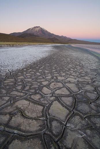 Stock Photo: 1828R-42271 Cracked Mud, Salar de Surire Natural Monument, Lauca Biosphere Reserve, Chile