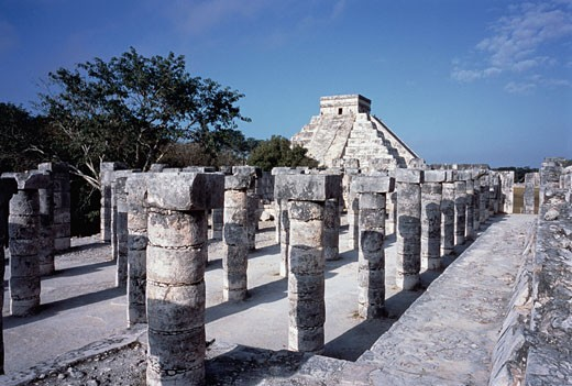 Stock Photo: 1828R-4265 Plaza of The Thousand Columns and Kukulkan Pyramid Chichen Itza. Mexico