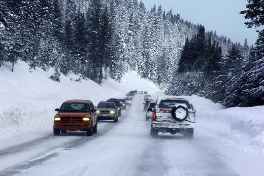 Stock Photo: 1828R-42842 Traffic on Snowy Mountain Road, Lake Tahoe, California, USA