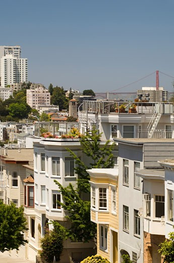 Apartment Buildings on Telegraph Hill, San Francisco, California, USA    : Stock Photo