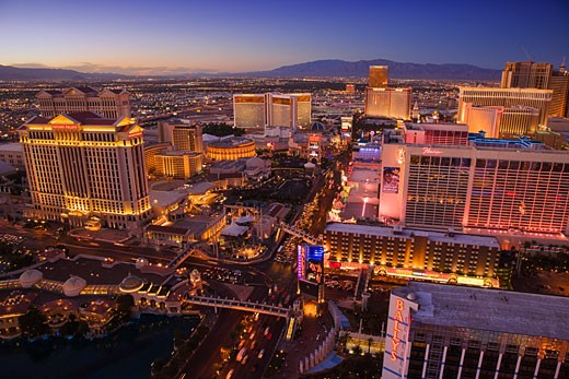 Stock Photo: 1828R-43218 Las Vegas Strip at Dusk, Las Vegas, Nevada, USA
