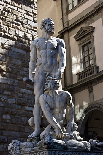 Stock Photo: 1828R-43274 Hercules and Cacus, Piazza della Signoria, Florence, Tuscany, Italy