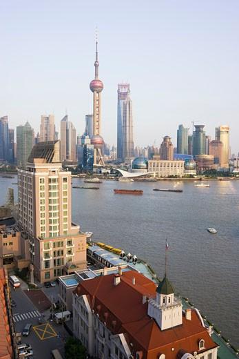 Stock Photo: 1828R-43762 Skyline of Pudong at Huangpu River, Shanghai, China