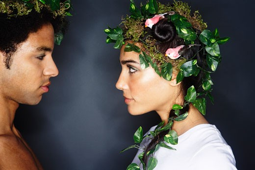 Stock Photo: 1828R-44219 Portrait of Couple With Wreaths in Hair