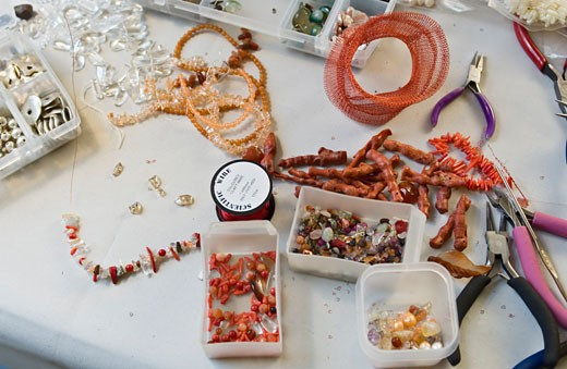 Craft Jeweller's Workbench, Beads Displayed    : Stock Photo