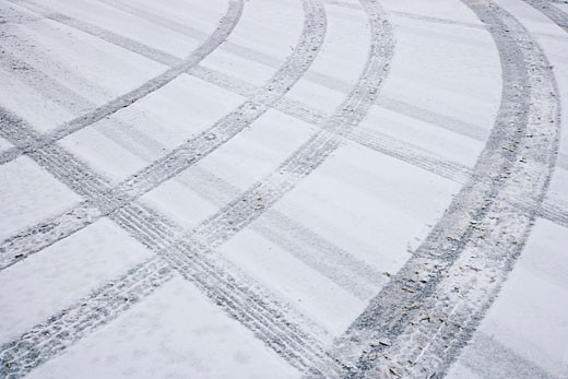 Tire Tracks on Snowy Road, Ottawa, Ontario, Canada    : Stock Photo