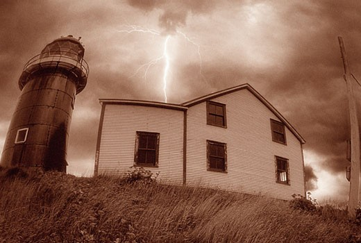 Stock Photo: 1828R-4496 Lighthouse and Lightning, Avalon Peninsula, Newfoundland and Labrador, Canada
