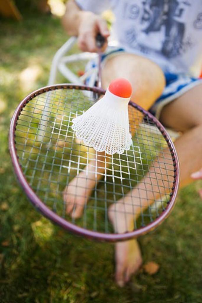 Badminton Birdie and Racquet : Stock Photo