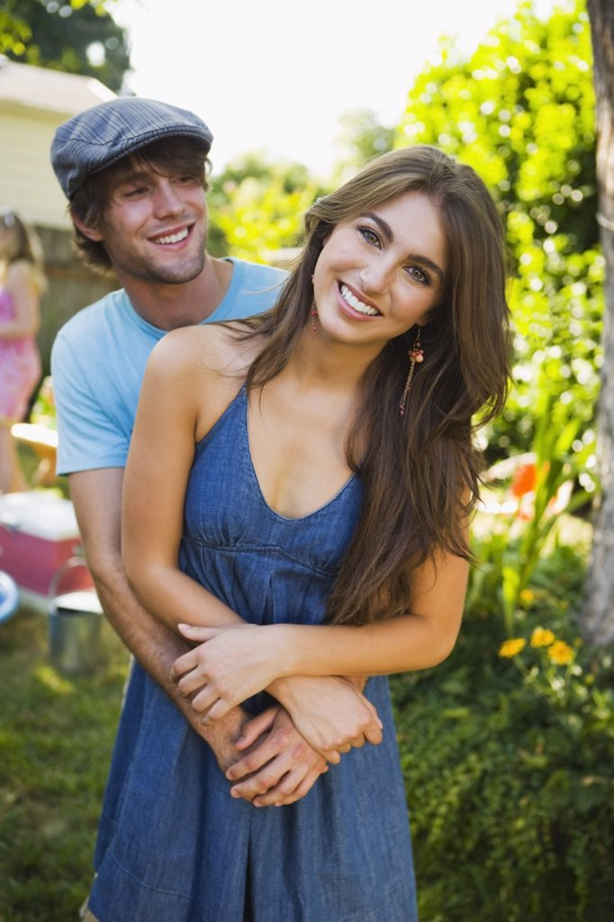 Couple at Backyard Barbeque, Portland, Oregon, USA    : Stock Photo