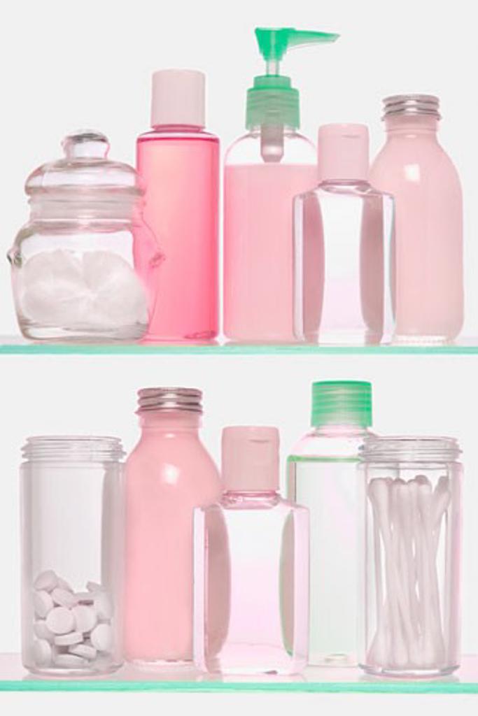 Cosmetics on Glass Shelves    : Stock Photo