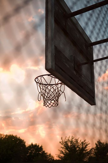 Stock Photo: 1828R-45656 Basketball Net at Sunset, New York State, USA