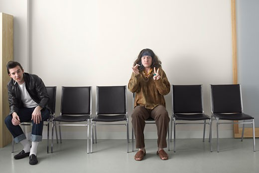 Stock Photo: 1828R-45877 Hippy and Rebel in Waiting Area