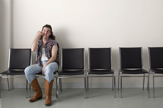 Redneck in Waiting Area    : Stock Photo