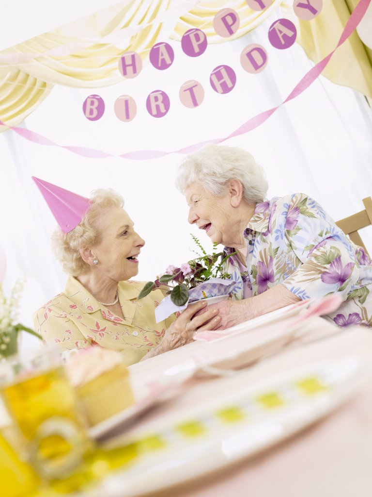 Stock Photo: 1828R-46330 Birthday Party at Seniors' Residence