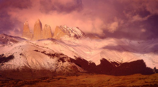 Stock Photo: 1828R-4671 Torre De Agostini at Sunrise, Torres Del Paine National Park, Chile