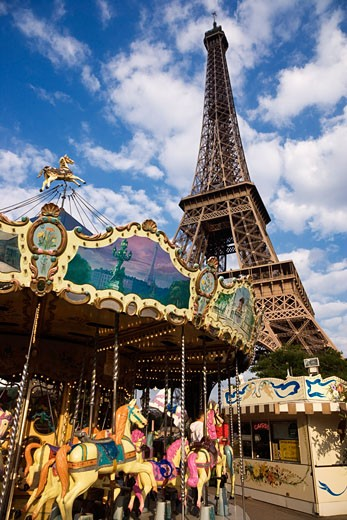 Stock Photo: 1828R-46854 Carousel and Eiffel Tower, Paris, France