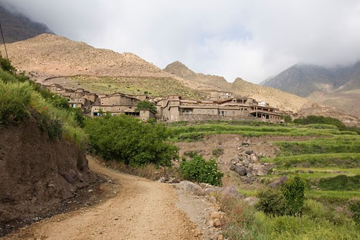 Landscape View of Village in High Atlas Mountains, Morocco    : Stock Photo