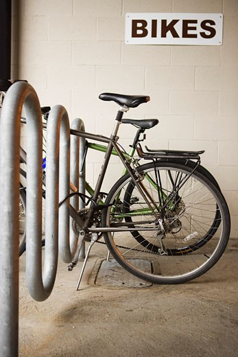 Stock Photo: 1828R-47097 Bikes in Bike Rack, Portland, Oregon, USA