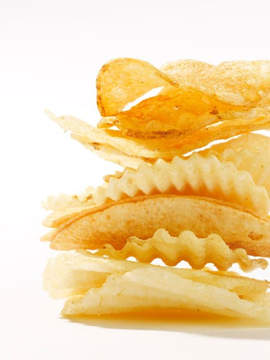 Stock Photo: 1828R-47108 Stack of Potato Chips