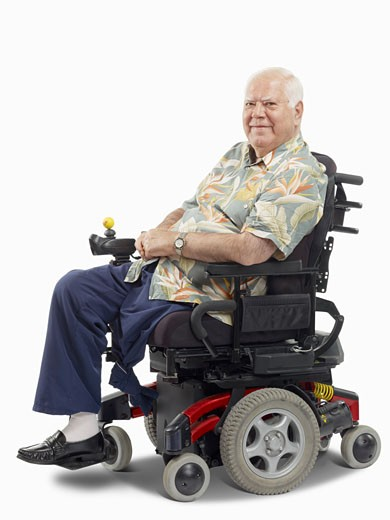 Disabled Man in Wheelchair    : Stock Photo