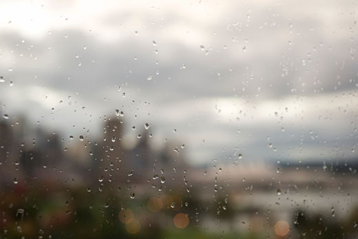 Close-up of Raindrops on Window    : Stock Photo