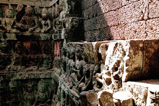 Stock Photo: 1828R-48001 Stone Carvings, Angkor Wat, Siem Reap, Cambodia