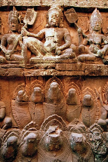 Stock Photo: 1828R-48002 Stone Carvings, Angkor Wat, Siem Reap, Cambodia