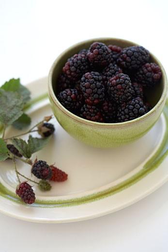 Stock Photo: 1828R-48459 Blackberries in Bowl