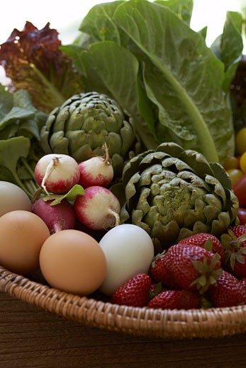Fruits, Vegetables and Eggs in a Basket    : Stock Photo