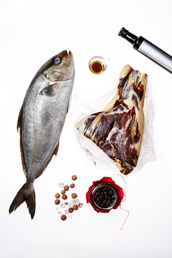 Stock Photo: 1828R-49001 Still Life of Raw Fish, Meat, and Ingredients