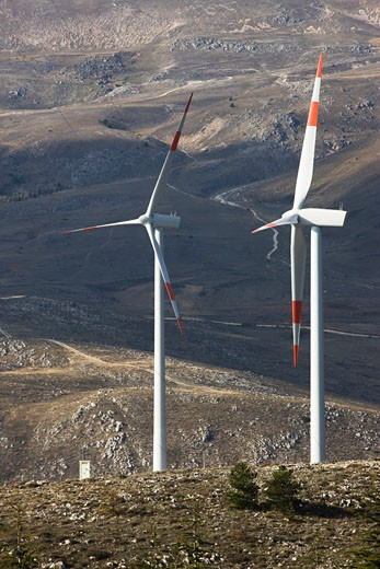 Stock Photo: 1828R-49283 Wind Turbines on Hillside
