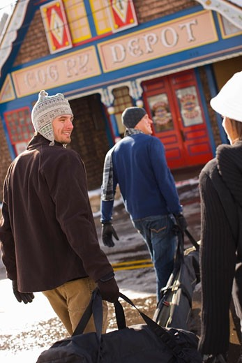 People Arriving at Pike's Peak Cog Railway Station in Manitou Springs, on the Way to Pike's Peak, Colorado, USA    : Stock Photo