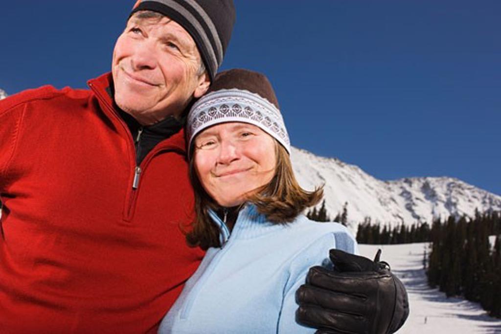 Portrait of Couple at a Ski Lodge, Arapahoe Basin, Near Frisco, Colorado, USA : Stock Photo