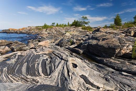 Stock Photo: 1828R-50208 Glaciated Canadian Shield, McQuade Island, Georgian Bay Islands National Park, Ontario, Canada