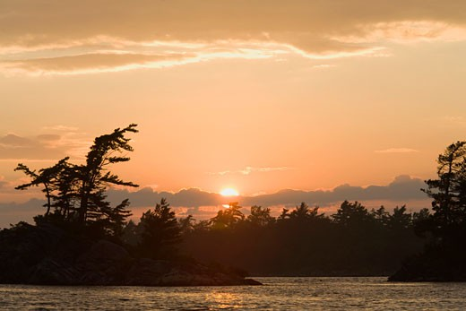Stock Photo: 1828R-50230 Sunset, Georgian Bay Islands National Park, Georgian Bay, Ontario, Canada