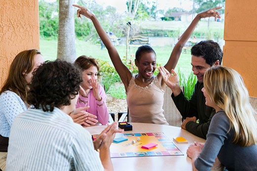 Group of People Playing A Board Game    : Stock Photo